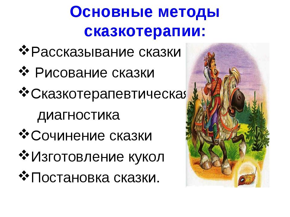 Основные методы сказкотерапии: Рассказывание сказки Рисование сказки Сказкоте...