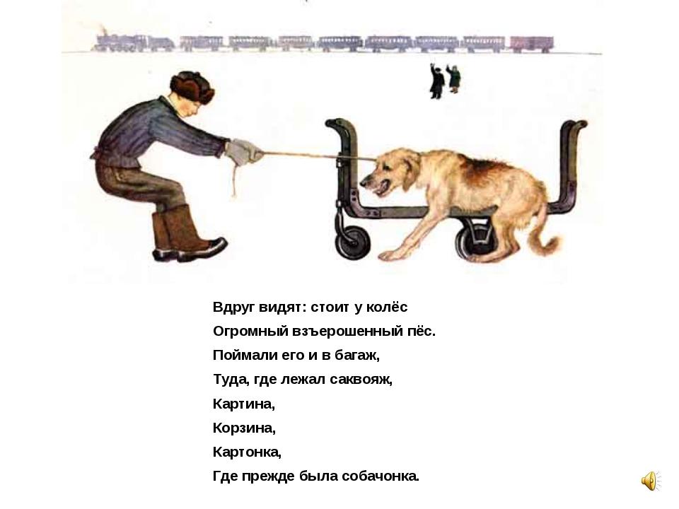 Вдруг видят: стоит у колёс Огромный взъерошенный пёс. Поймали его и в багаж,...