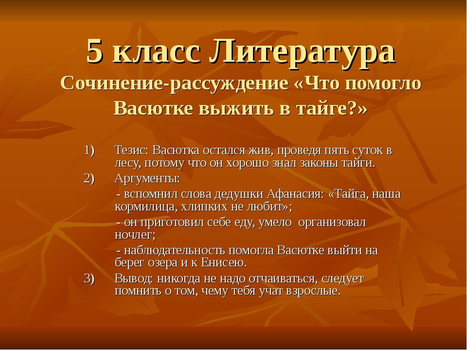 5 класс Литература Сочинение-рассуждение «Что помогло Васютке выжить в тайге?...