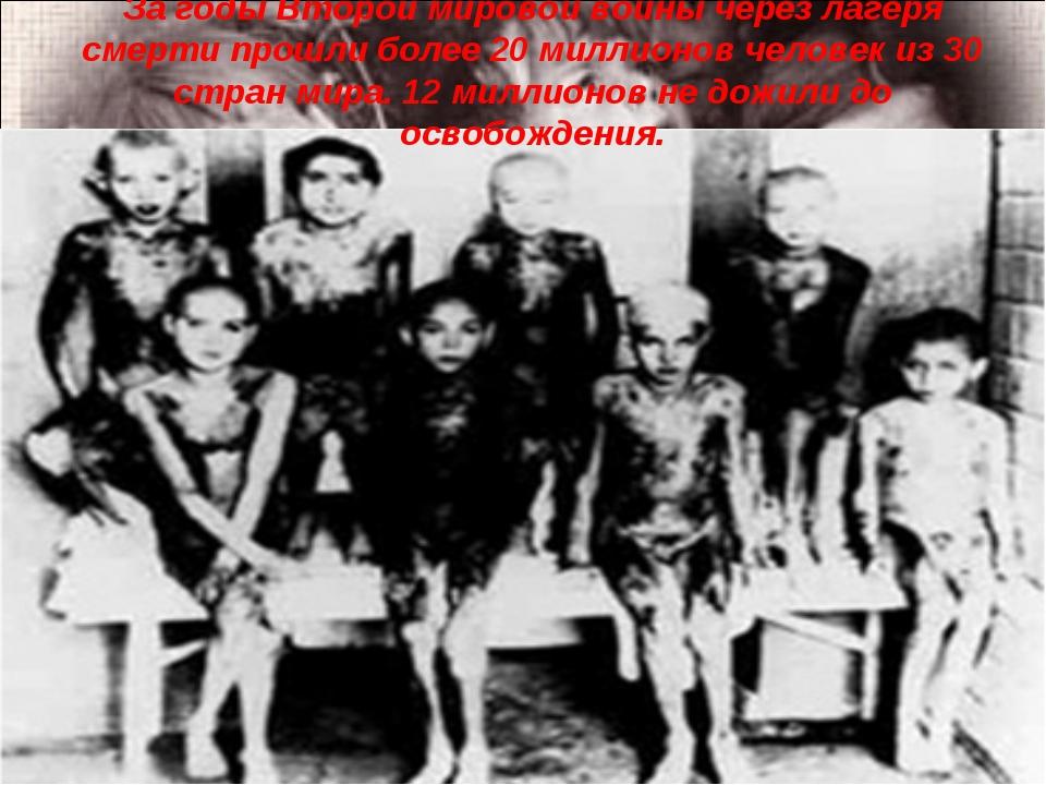 За годы Второй мировой войны через лагеря смерти прошли более 20 миллионов че...