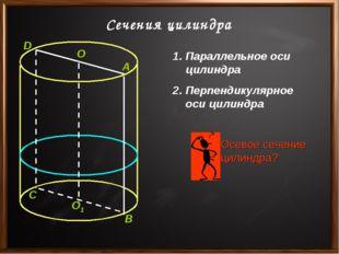 Сечения цилиндра Параллельное оси цилиндра Перпендикулярное оси цилиндра