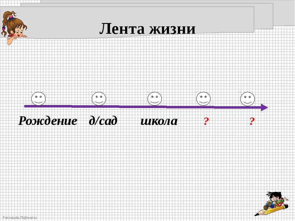 Лента жизни Рождение д/сад школа ? ? FokinaLida.75@mail.ru