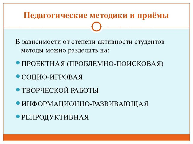 Педагогические методики и приёмы В зависимости от степени активности студенто...