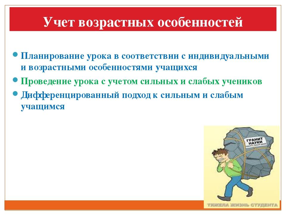 Учет возрастных особенностей Планирование урока в соответствии с индивидуальн...