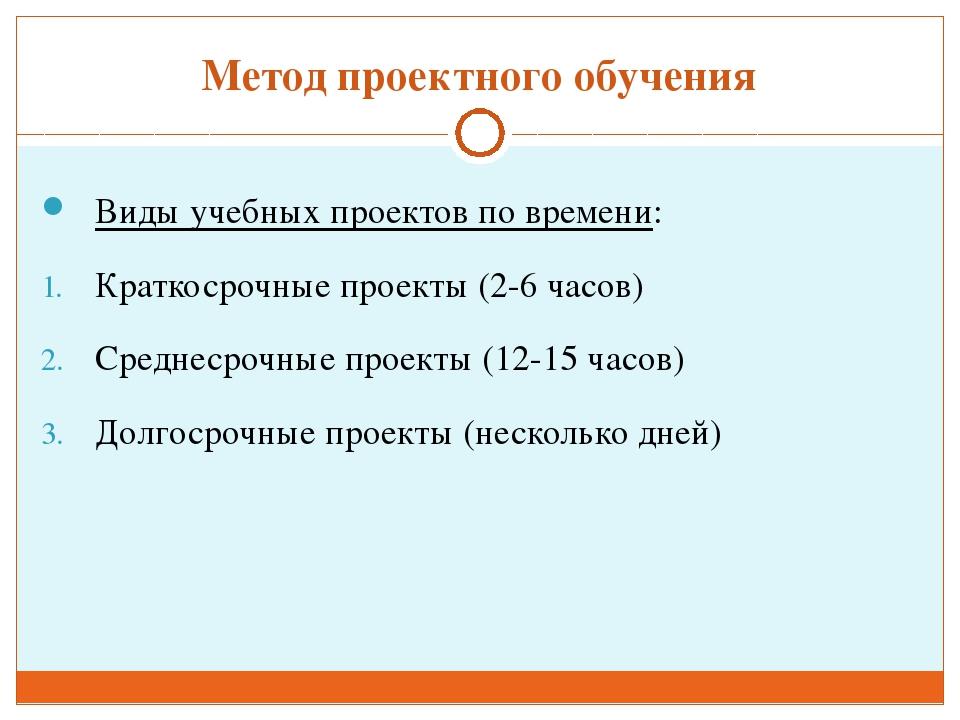 Метод проектного обучения Виды учебных проектов по времени: Краткосрочные про...