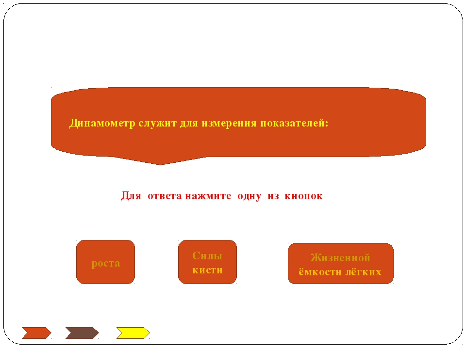 Динамометр служит для измерения показателей: роста Силы кисти Жизненной ёмкос...