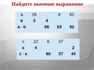 Найдите значение выражения а 26 9 82 b 3 4 a · b 96 63 82 с 12 6 37 к 4 2 с·к