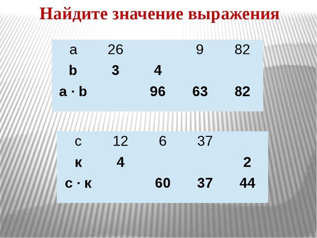 Найдите значение выражения а 26 9 82 b 3 4 a · b 96 63 82 с 12 6 37 к 4 2 с·к...