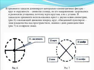 В орнаменте хакасов доминирует центрально-симметричные фигуры – круг и окружн