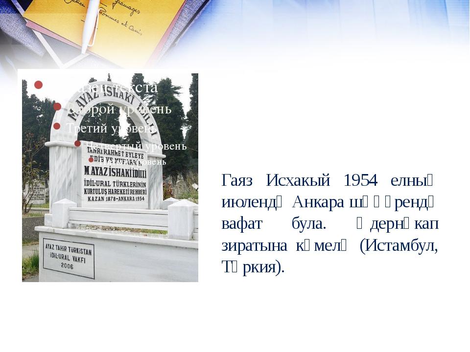 Гаяз Исхакый 1954 елның июлендә Анкара шәһәрендә вафат була. Әдернәкап зираты...