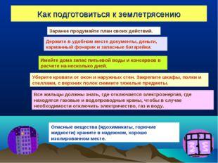 Как подготовиться к землетрясению Заранее продумайте план своих действий. Дер