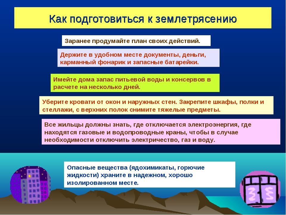 Как подготовиться к землетрясению Заранее продумайте план своих действий. Дер...