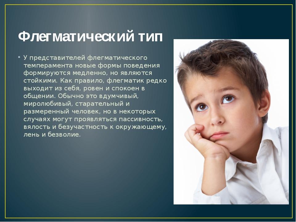 Флегматический тип У представителей флегматического темперамента новые формы...
