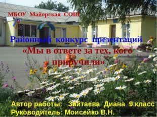 МБОУ Майорская СОШ Районный конкурс презентаций «Мы в ответе за тех, кого пр