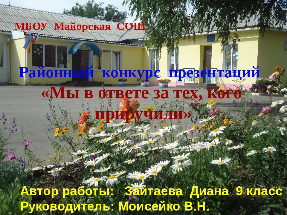 МБОУ Майорская СОШ Районный конкурс презентаций «Мы в ответе за тех, кого пр...