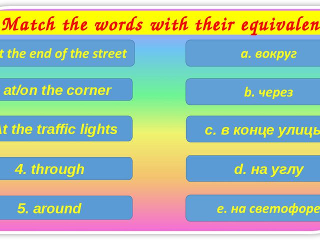 Match the words with their equivalents c. в конце улицы 2. at/on the corner 3...