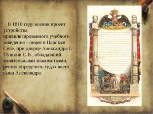 В 1810 году возник проект устройства привилегированного учебного заведения -