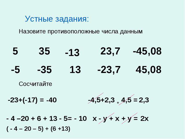 Устные задания: Назовите противоположные числа данным 5 35 -13 23,7 -45,08 -5...