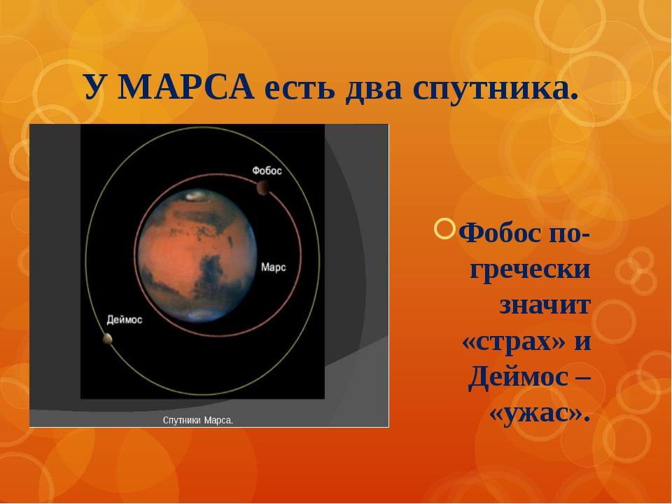 У МАРСА есть два спутника. Фобос по-гречески значит «страх» и Деймос – «ужас».