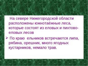 На севере Нижегородской области расположены южнотаёжные леса, которые состоя
