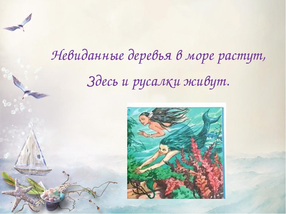 Невиданные деревья в море растут, Здесь и русалки живут.