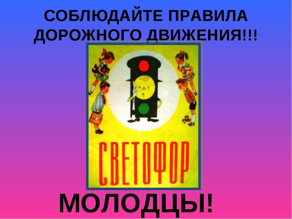 СОБЛЮДАЙТЕ ПРАВИЛА ДОРОЖНОГО ДВИЖЕНИЯ!!! МОЛОДЦЫ!