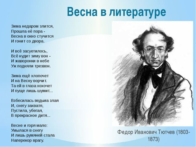 Весна в литературе Федор Иванович Тютчев (1803-1873) Зима недаром злится, Про...