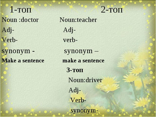 1-топ 2-топ Noun :doctor Noun:teacher Adj- Adj- Verb- verb- synonym - synonym...