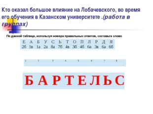 Кто оказал большое влияние на Лобачевского, во время его обучения в Казанском
