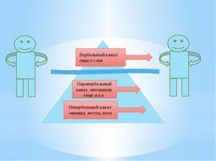 Паравербальный канал: интонация, темп и т.п. Невербальный канал: мимика, жес
