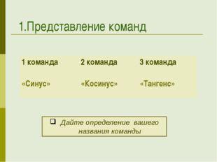 1.Представление команд Дайте определение вашего названия команды 1 команда «