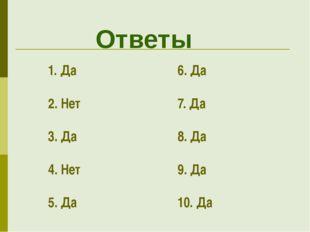 Ответы 1. Да 2. Нет 3. Да 4. Нет 5. Да 6. Да 7. Да 8. Да 9. Да 10. Да