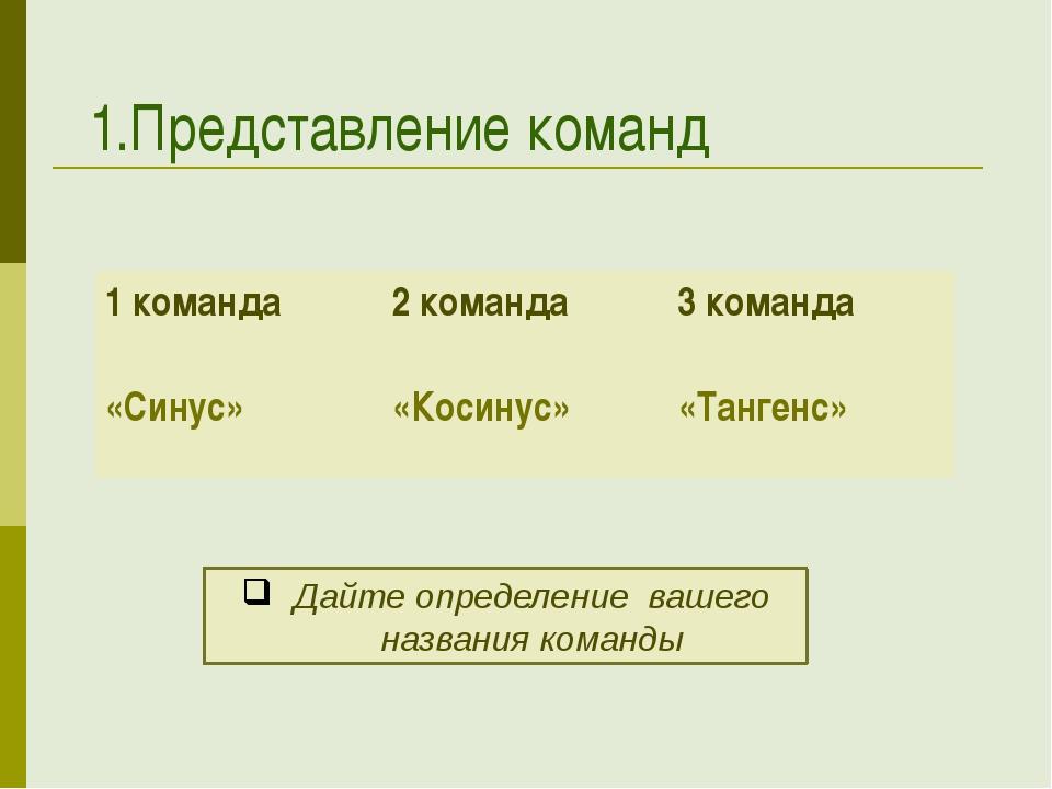1.Представление команд Дайте определение вашего названия команды 1 команда «...