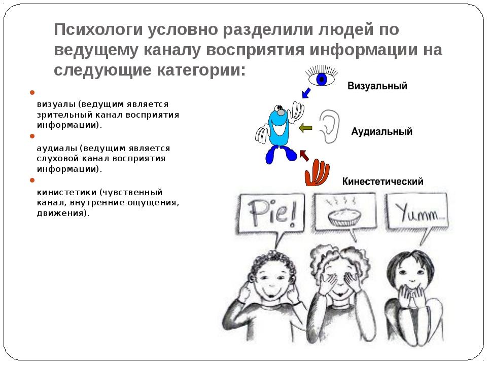Психологи условно разделили людей по ведущему каналу восприятия информации на...