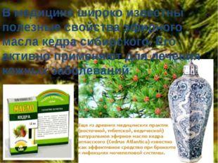 В медицине широко известны полезные свойства эфирного масла кедра сибирского.