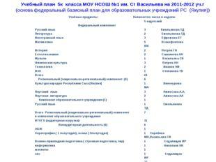 Учебный план 5к класса МОУ НСОШ №1 им. Ст Васильева на 2011-2012 уч.г (основа