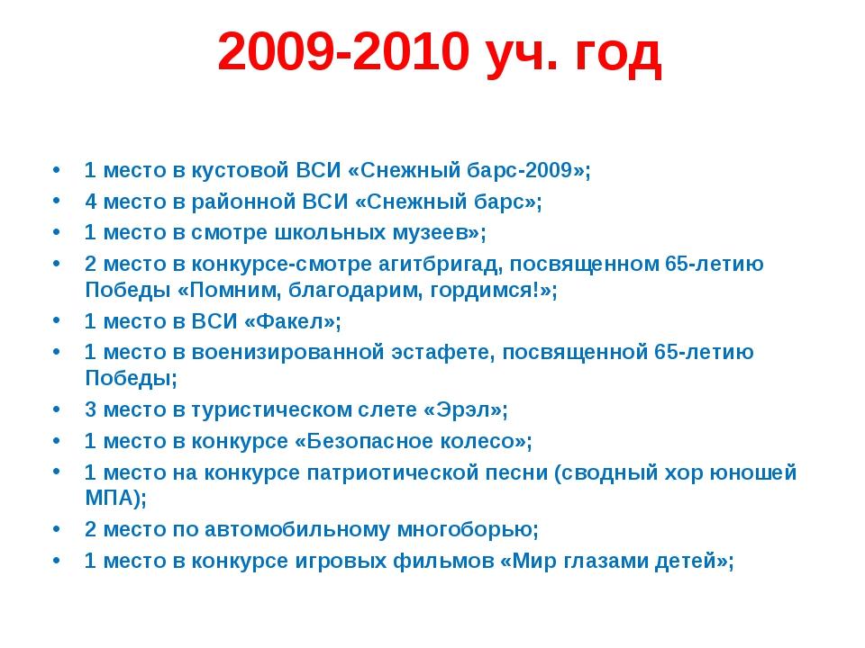 2009-2010 уч. год 1 место в кустовой ВСИ «Снежный барс-2009»; 4 место в райо...