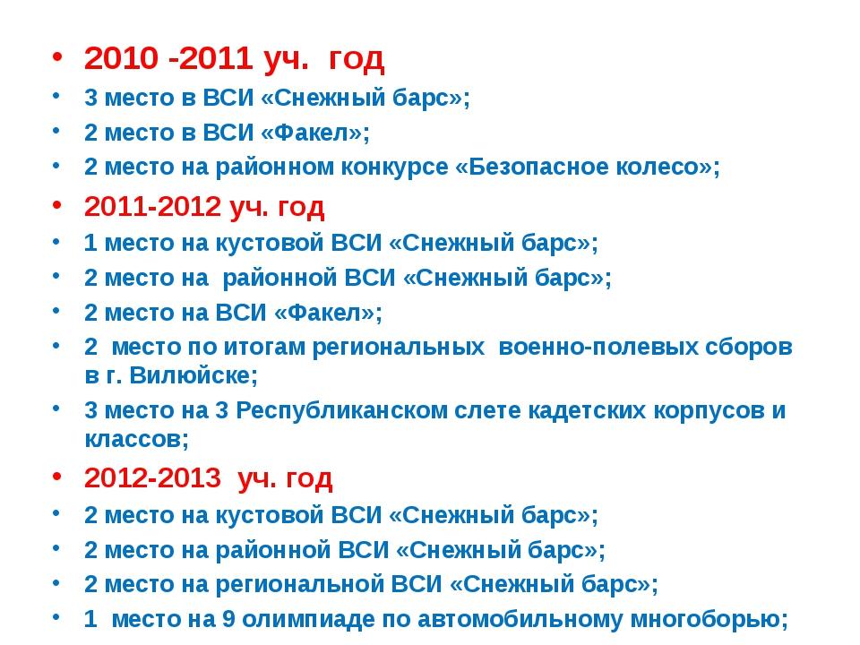 2010 -2011 уч. год 3 место в ВСИ «Снежный барс»; 2 место в ВСИ «Факел»; 2 мес...