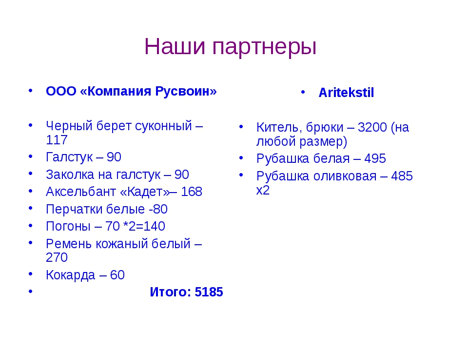 Наши партнеры ООО «Компания Русвоин» Черный берет суконный – 117 Галстук – 90...