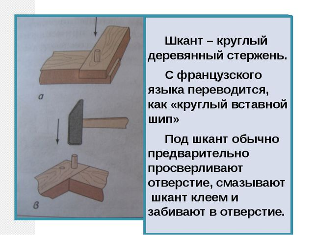 Шкант – круглый деревянный стержень. С французского языка переводится, как «...