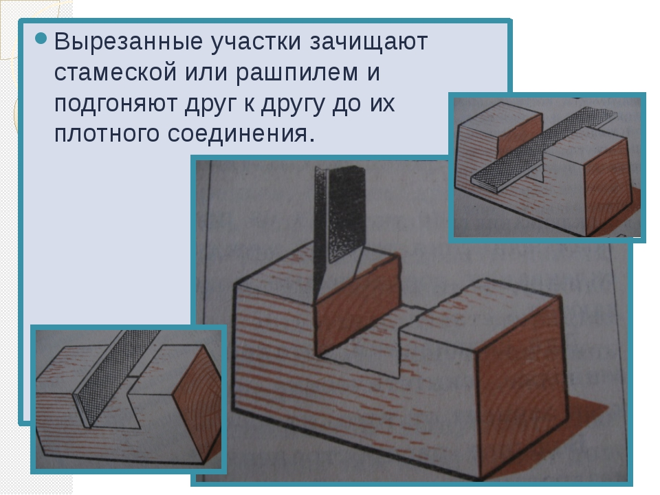 Вырезанные участки зачищают стамеской или рашпилем и подгоняют друг к другу д...