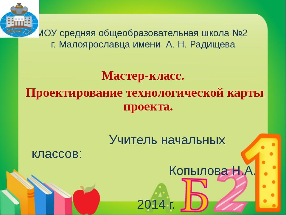 МОУ средняя общеобразовательная школа №2 г. Малоярославца имени А. Н. Радище...