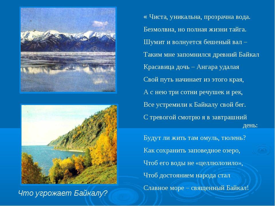 « Чиста, уникальна, прозрачна вода. Безмолвна, но полная жизни тайга. Шумит и...