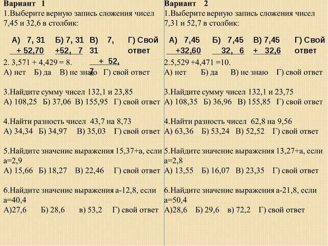 А) 7,45 +32,60Б) 7,45 32, 6В) 7,45 + 32,6Г) Свой ответ А) 7, 31 + 52,70Б...