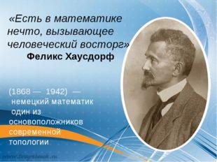 «Есть в математике нечто, вызывающее человеческий восторг» Феликс Хаусдорф (