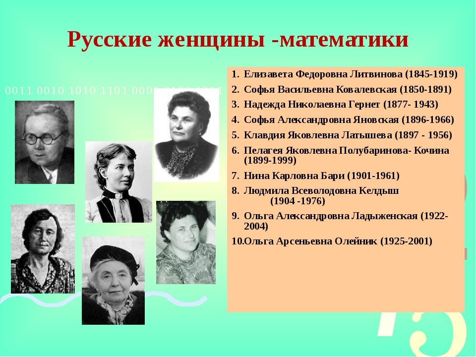 Русские женщины -математики Елизавета Федоровна Литвинова (1845-1919) Софья В...