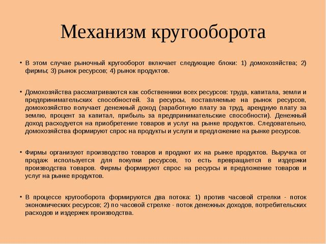 Механизм кругооборота В этом случае рыночный кругооборот включает следующие б...
