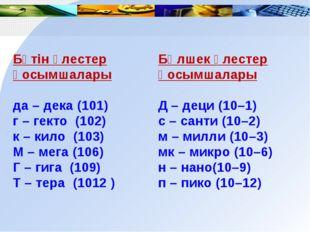 Бүтін үлестер қосымшалары да – дека (101) г – гекто (102) к – кило (103) М