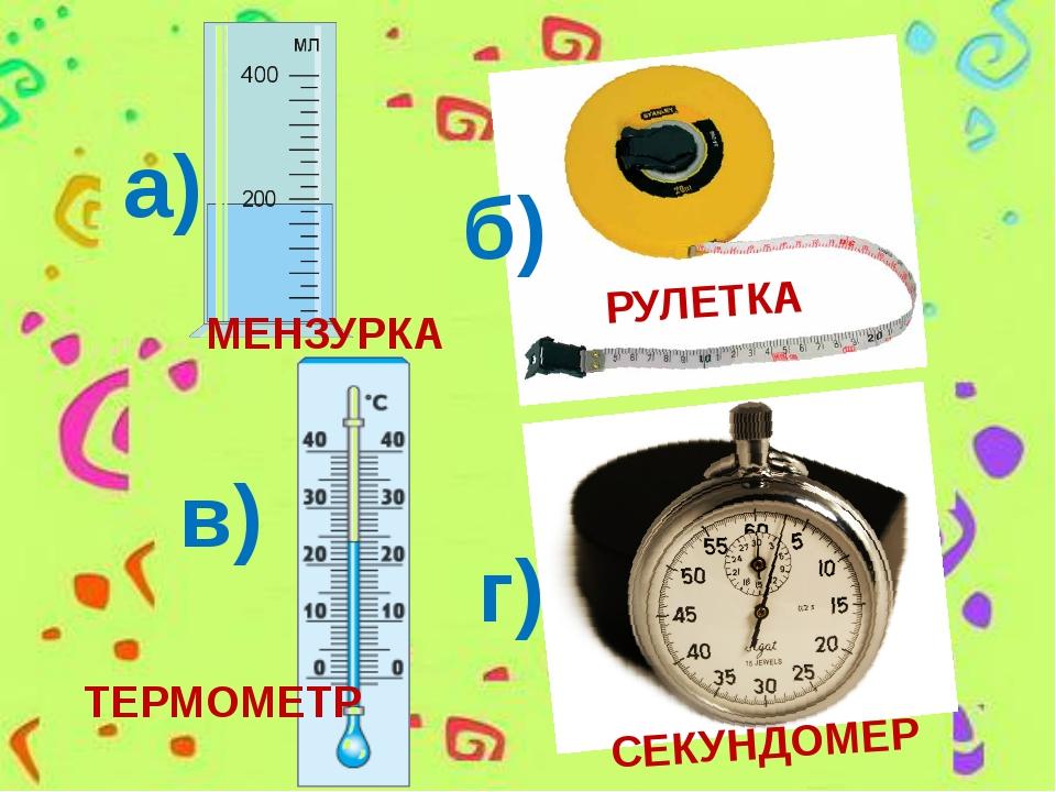 РУЛЕТКА СЕКУНДОМЕР а) б) в) г) ТЕРМОМЕТР МЕНЗУРКА