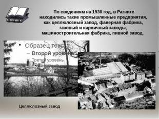 По сведениям на 1930 год, в Рагните находились такие промышленные предприяти